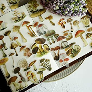Mushroom Scrapbook Stickers - Doraking 100PCS DIY Decoration Sulfuric Paper Mushroom Stickers for Scrapbook Decoration Wit...