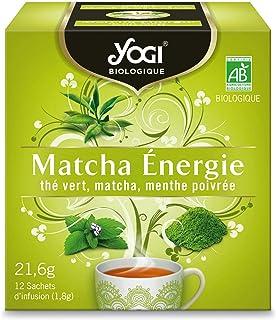 Yogi Biologique Matcha Énergie, Thé Vert 100% Bio Matcha et Menthe Poivrée, 12 Sachets thermosoudés et sans agrafe, 21.6 ...