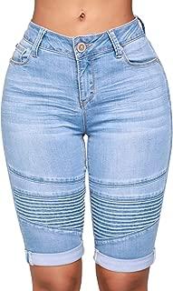 Womens Knee Length Stretchy Bermuda Denim Shorts Folded Hem Short Jeans