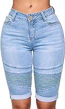 Govc Womens Knee Length Stretchy Bermuda Denim Shorts Folded Hem Short Jeans