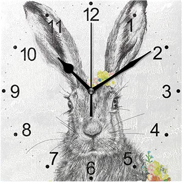 LORVIES Rabbit Wall Clock Silent Non Ticking Acrylic 8 Inch Square Decorative Clock For Home Office Kitchen Bedroom Living Room