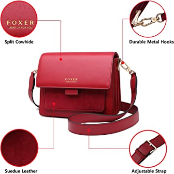 PVC Faux Leather Ladies Small Round Purses and Handbags FOXER Round Leather Crossbody Bags for Women