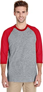 Gildan Adult Heavy Cotton 53 oz, 3/4 Raglan Sleeve T-Shirt - White/Black - S - (Style # G570 - Original Label)