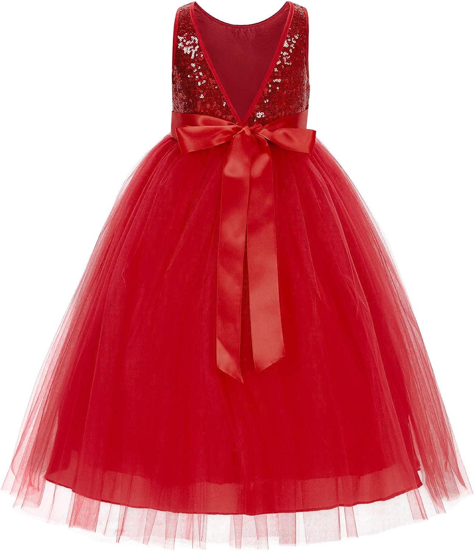 ekidsbridal Sequin V-Back Flower Girl Dress Graduation Ceremony Recital Performance LG1