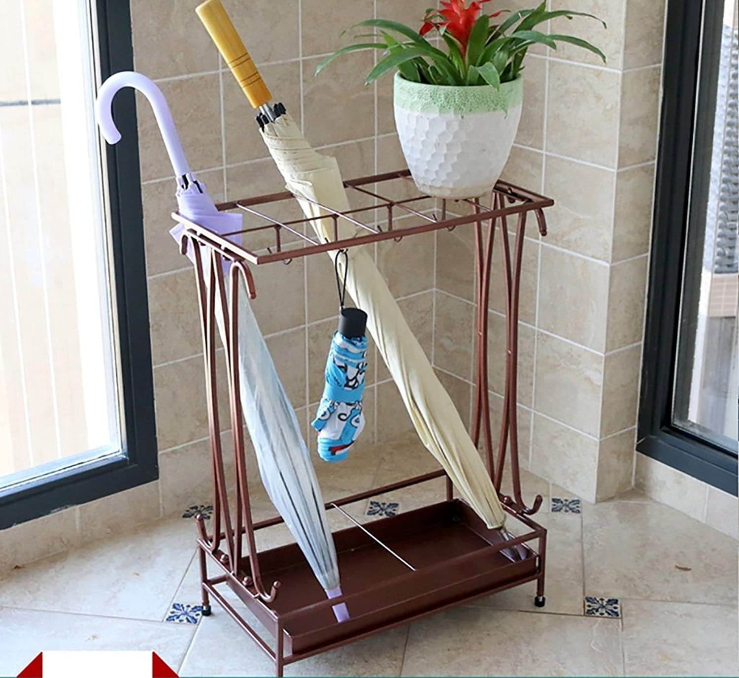 Creative Umbrella Rack Hotel Lobby Household Iron Umbrella Umbrella Bucket Barrel Storage Floor Floor Umbrella Shelf (color   Brown)