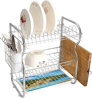 Stainless Steel 3-Tier Dish Drainer Rack Italy Kitchen Drying Drip Tray Cutlery Holder Portofino Landmark Aerial Panoramic View Village and Yacht Little Bay Harbor Decorative,Blue Green Yellow,Storage