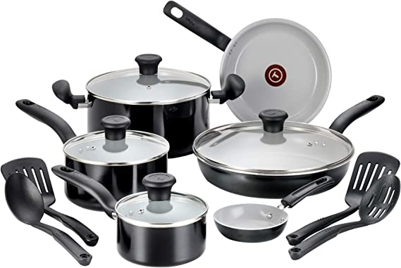 T-fal Cookw G917SE64 Initiatives Ceramic Nonstick Dishwasher Safe Toxic Free 14-Piece Cookware Set, Black