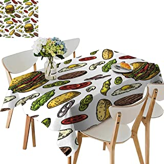 UHOO2018 Solid Tablecloth Burger redients Include Cutlet Tomato Cucumber sala Vintage Square/Rectangle Spillproof Fabric Tablecloth,52 x 108inch