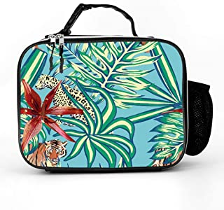 HOOSUNFlagrbfa Wild Animals Leopard Tiger in Tropical Leaf Flower Lily Lunch Bag Detachable Leather Portable Lunch Tote Bag Ice Hot Pack for Adult Student
