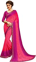 RAJESHWAR FASHION WITH RF Women's Georgette Printed Sarees Jequard Lace Work Saree With Blouse Piece (NEW,A15 Bandhani Mul...