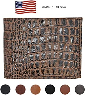 Brown Genuine Leather Wallet – Crocodile Print - RFID Blocking - American Factory Direct - Slim Bill Fold - Made in USA by Real Leather Creations FBA1124