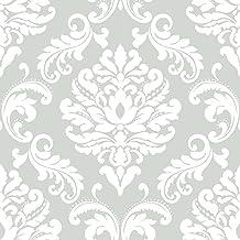 NuWallpaper NUS1935 NU1935 Ariel Grey Peel and Stick Wallpaper, Gray