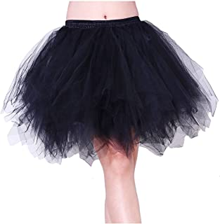 Tree YY Women Black 50s 80s Vintage Petticoat Bubble Tulle Party Dance Ballet Adult Tutu Skirts