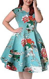 Nemidor Women's 1950s Style Polka Dot Pattern Vintage Plus Size Swing Dresss