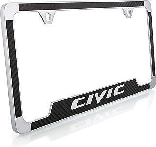 إطار لوحة ترخيص Honda Civic مقلد من ألياف الكربون (أسود)