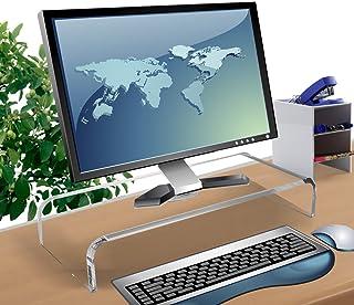 Clear Acrylic Computer Monitor Stand Holder, Acrylic Monitor Riser for Office Home Desktop, Desktop Computer Monitor Stands for Laptop Screen TV Monitor, Keyboard Storage, Desk Riser Shelf Sturdy