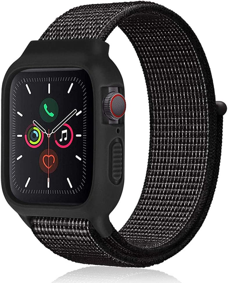 Nylon Sport Band Compatible with Watch Band 38mm 40mm for Women Men,Soft Silicone Bumper Case Replacement Band Strap for iWatch Watch Series 5, Series 4, Series 3, Series 2, Series 1-Black