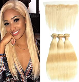 DACHIC 613 Blonde Human Hair Bundles with Frontal 9A Brazilian Straight Hair 3 Bundles with Frontal Closure 100% Virgin Human Hair Weave with 13x4 Lace Frontal (14 16 18+12)