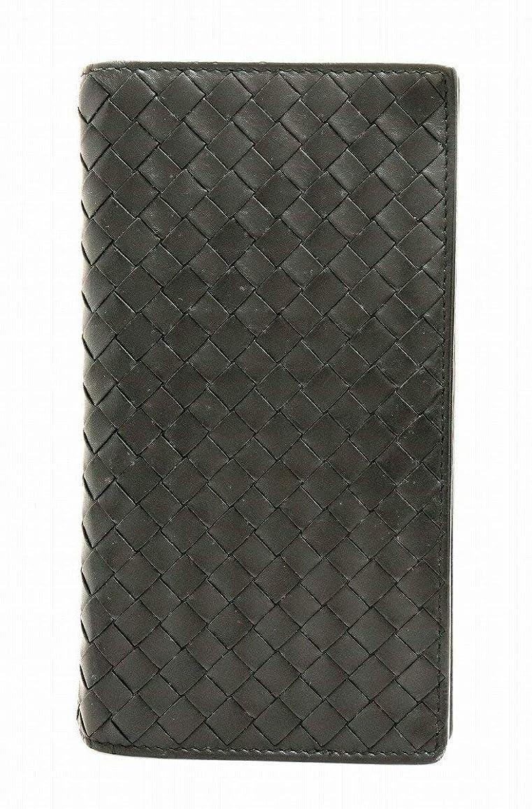 不可能な滑り台管理[ボッテガ ヴェネタ] BOTTEGA VENETA ボッテガベネタ イントレチャート 2つ折長財布 レザー カーフ 黒 ブラック 272541