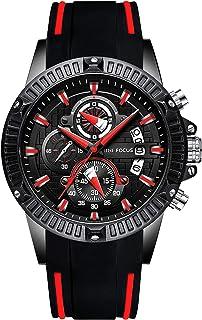 RORIOS Luxury Business Men Watches Rubber Strap Calendar Luminous Stopwatch Multifunctions Wrist Watch