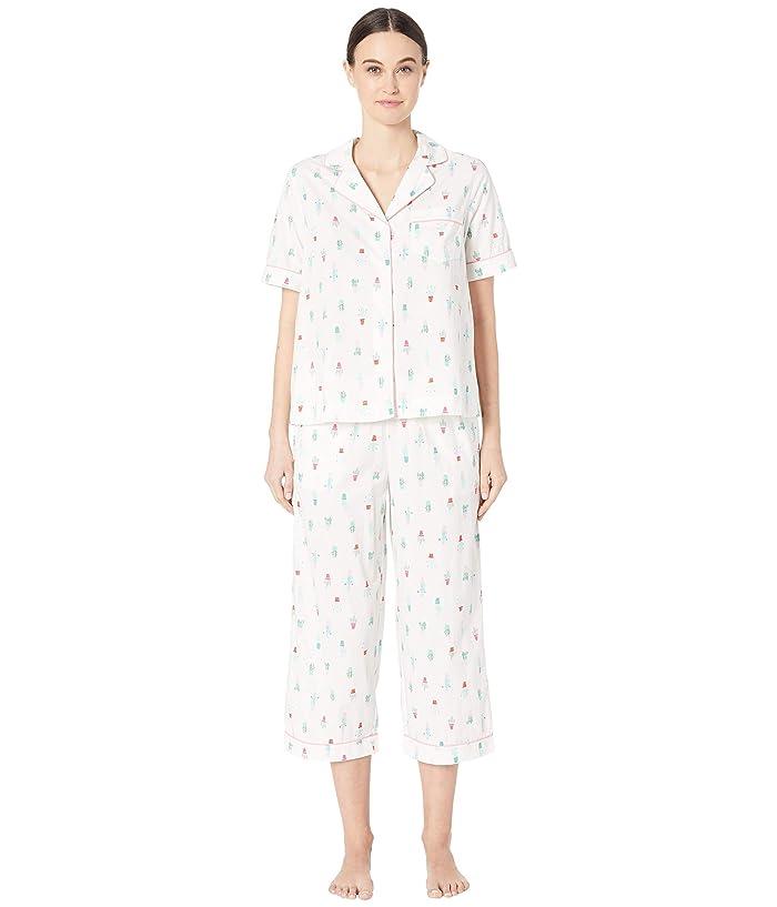 Kate Spade New York Cotton Lawn Cropped Pajama Set (Cactus Pots) Women