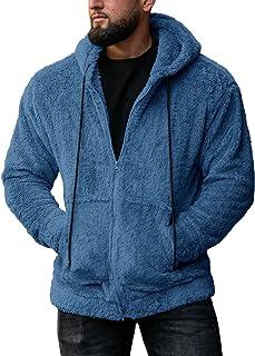 Mens Fluffy Jackets Zip Hooded Sweatshirts Sherpa Fleece Loose Fuzzy Hoodie Coat Outerwear