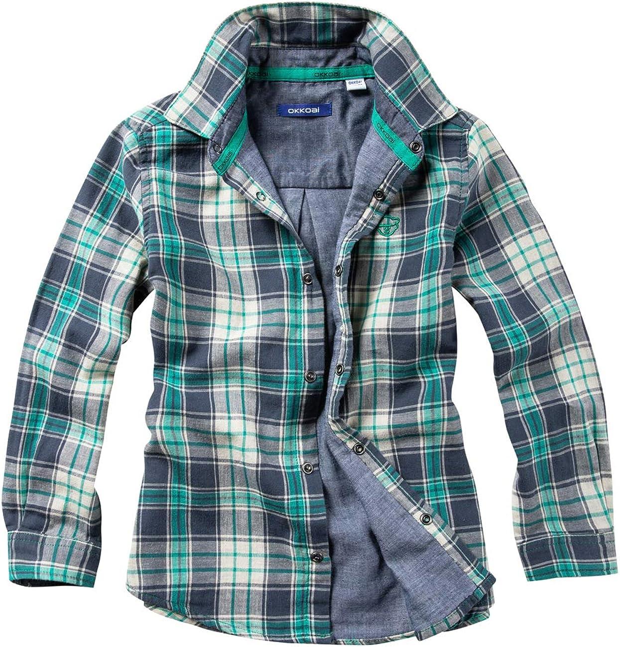 WIYOSHY Boys' Button Down Long Sleeve Cotton Shirts Kids 4-14 Years