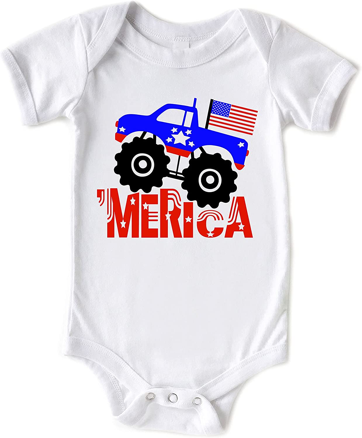 Little Spunkies Merica Monster Truck Baby Oakland Mall July 4th Summer of Inf specialty shop