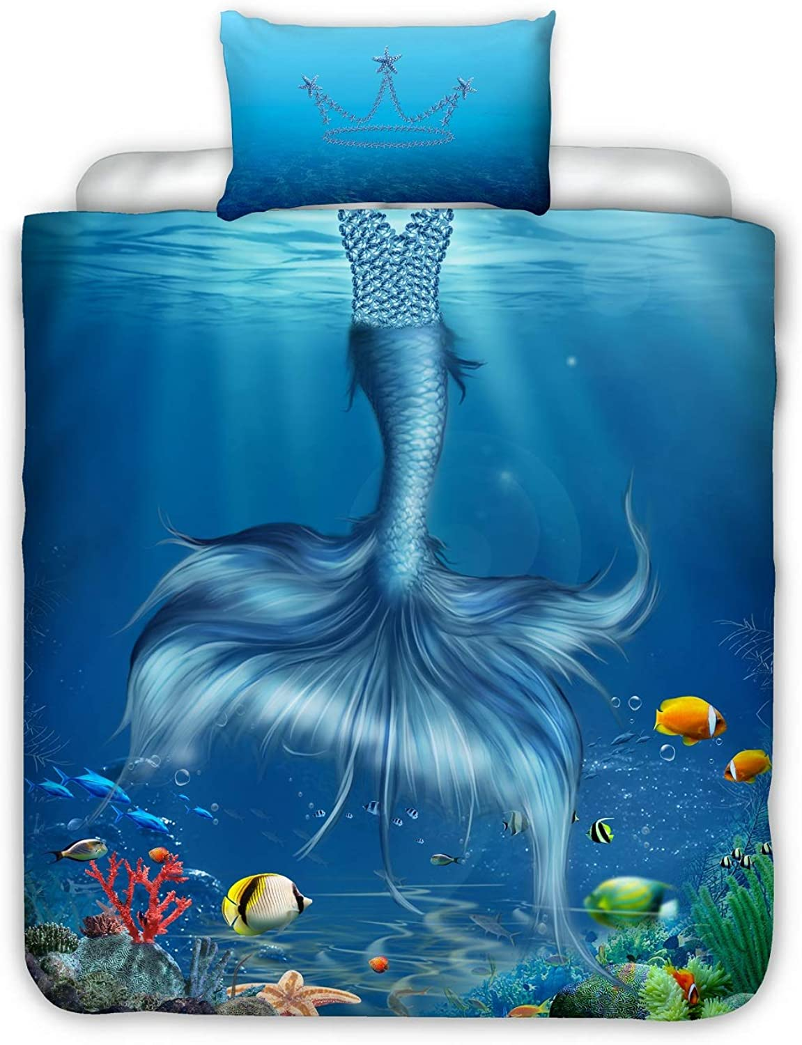 YOUSA Mermaid Duvet Cover and Pillow Case Set for Girls Kids Mermaid Bedding Sets (Twin,Mermaid)