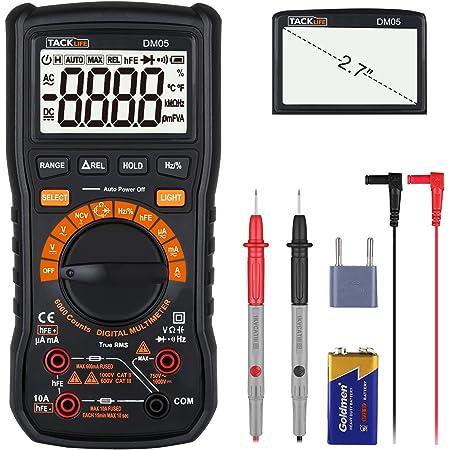 Multímetro Digital, Tacklife DM05 Polimetro 6000 counts, Manual automático de dos modos de medición,Mini Multímetro Portátil, volimetro AC/DC Tester ...