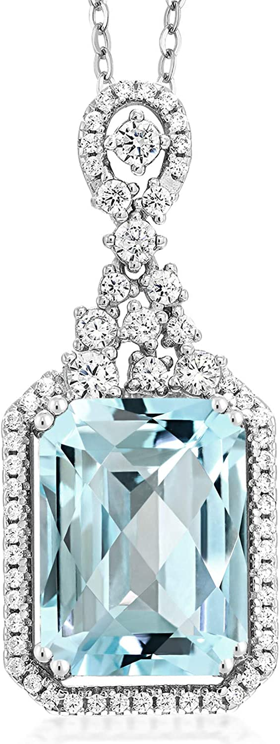 Gem Stone King 8.90 Ct Octagon Fees free!! Sky Checkerboard S Topaz Blue Ranking TOP7 925