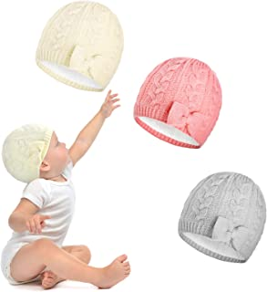 SATINIOR Baby Winter Hat 3 Pieces Warm Knitted Hat with Bow Toddler Baby Girl Bowknot Beanie Cap Cute Cable Knit Winter Ha...