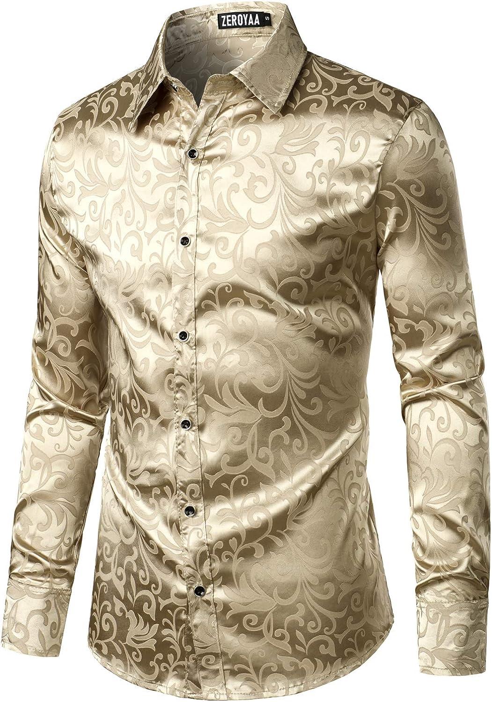 ZEROYAA Men's Luxury Jacquard Long Sleeve Shiny Shirt Dress Sati Al sold Indefinitely out.