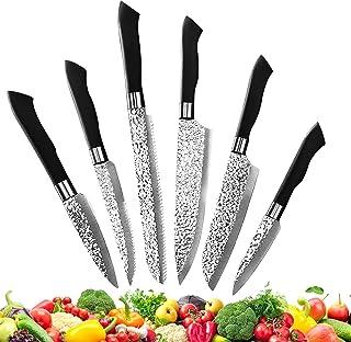 Couteau Cuisine Set de6,Contient Couteau d'Office,Couteau Universel, couteau santoku,Couteau à Pain,Couteau etde Chef Cout...