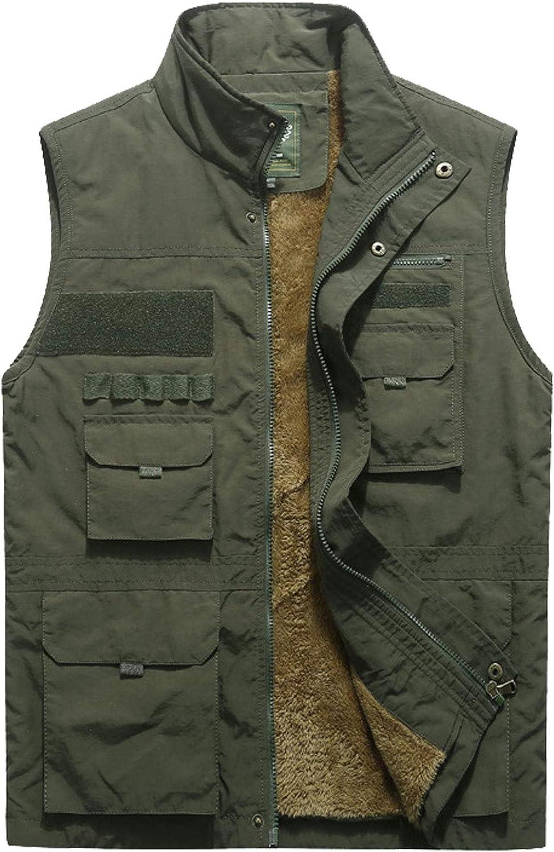 Flygo Men's Outdoor Quilted Padded Travel Work Safari Fleece Vest Jacket