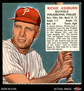 1952 Red Man # 2 NL x Richie Ashburn Philadelphia Phillies (Baseball Card) (No Tab) Dean's Cards 4 - VG/EX Phillies