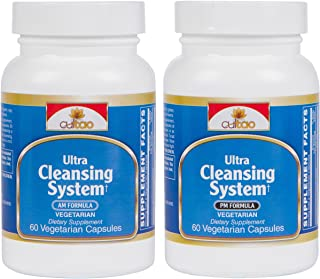 Ultra Cleansing System Detox Kit w/ 100% Natural Herbal Blend for Maximum Whole Body Organs & Systems Detox Cleanse - Works Safely & Gently Day & Night Over 30 Days - Vegetarian Formula