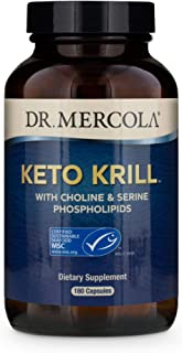 Dr. Mercola, Keto Krill Oil Supplement, 90 Servings (180 Capsules),Omega 3 Fatty Acids, MSC Certified, Non GMO, Soy-Free, ...