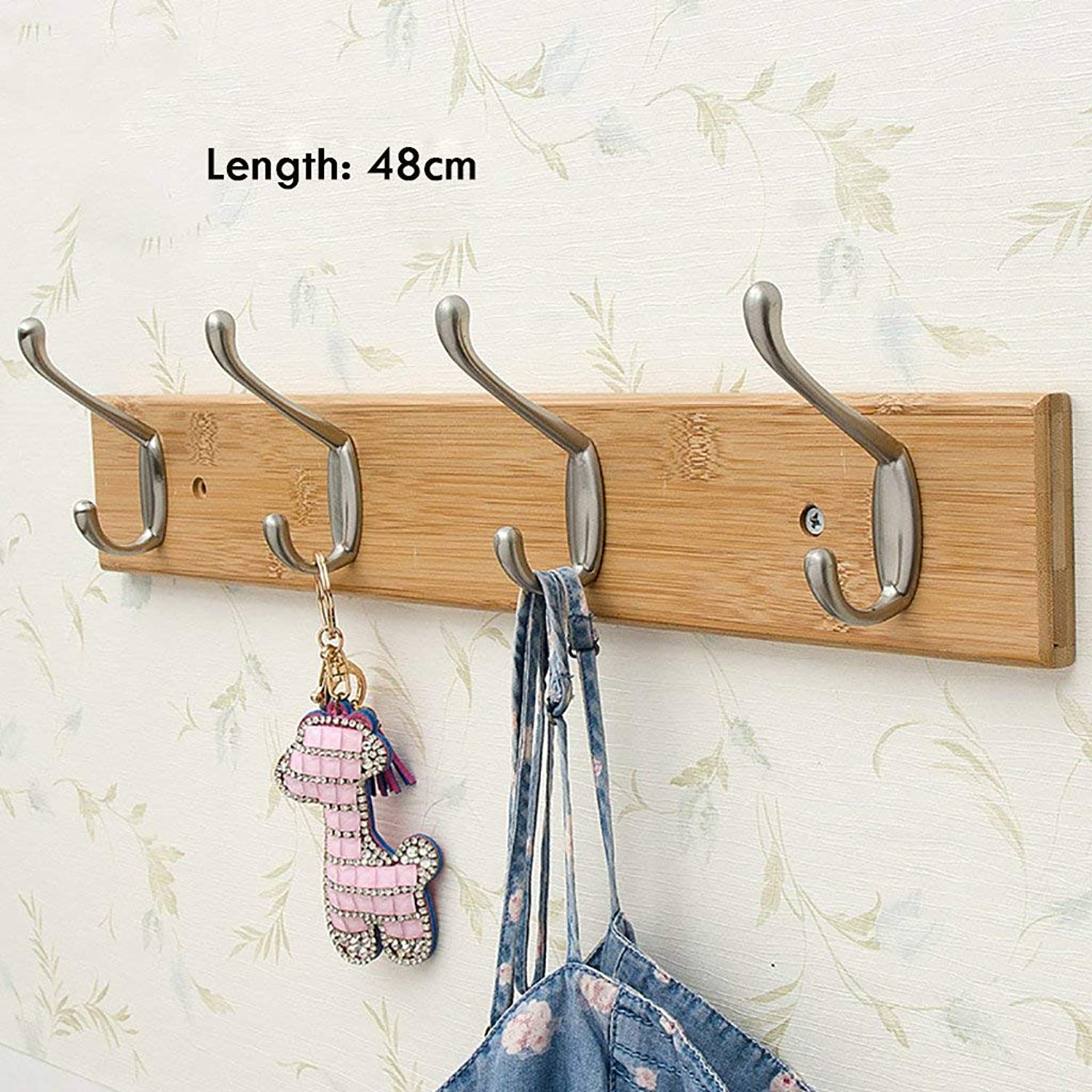 Living Room Decorative Hanging Shelves Wall-Mounted Coat Rack, Bedroom Solid Wood Wall Hook, Natural Bamboo Wall Frame, Wall Decoration Frame (Size   87cm) (Size   48cm)
