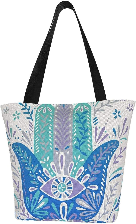 Eyes Art Hamsa Hand Fatima Faith Themed Printed Women Canvas Handbag Zipper Shoulder Bag Work Booksbag Tote Purse Leisure Hobo Bag For Shopping