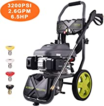 AUTLEAD Gasoline Powered Pressure Washer, 6.5HP, 120V, 590GPH, 3200 Psi,3.5L Gas, 2L Soap Box, Big Wheels, Muti-Use, for Cleaning Car, Patio, Wall, Furniture, Barbecue HXGSH01A