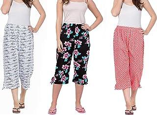 Nasheeza® Capri for Women Cotton, Night Pyjamas for Women, Capri for Women, Nightwear Capri for Women, Printed 3/4 Pyjama(Pack of 3Pcs), Prints May Vary (Assorted Capri), Save Upto Rs.400 /-