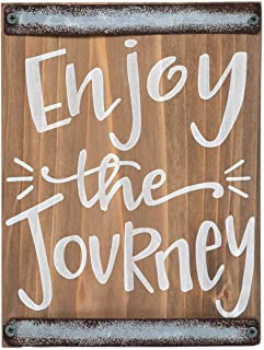 Brownlow Gifts Dark Pine Wood Block Sign Wall Décor, 5.5 x 7-Inches, Enjoy The Journey