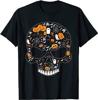 Rhinestone Pumpkin Ghost Witch Skull Halloween Costume Tee