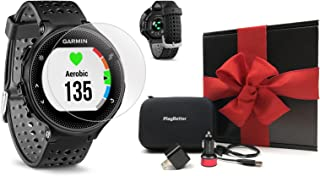 Garmin Forerunner 235 (Black/Gray) Gift Box Bundle   with HD Screen Protector Film (x4), PlayBetter USB Car/Wall Adapters & Protective Case   GPS Running Watch   On-Wrist Heart Rate   Black Gift Box