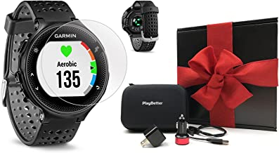 Garmin Forerunner 235 (Black/Gray) Gift Box Bundle | with HD Screen Protector Film (x4), PlayBetter USB Car/Wall Adapters & Protective Case | GPS Running Watch | On-Wrist Heart Rate | Black Gift Box