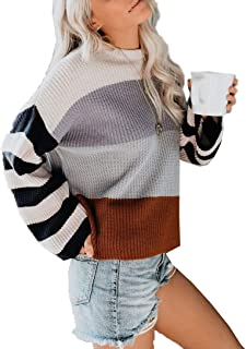 GOLDSTITCH Womens Sweaters Batwing Sleeve Striped Lightweight Loose Oversized Pullover Knit Jumper Tunic