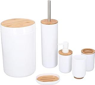Set de 6 Accessoires de Salle de Bain - Plastique et Bambou