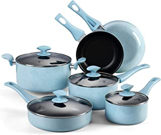 AMERICOOK, 10PC Non-stick Pots and Pans Set - Blue Porcelain Enamel Kitchen Cookware Set with Glass Lids and Stay-Cool Bakelite Handles, Includes: Nonstick Frying Pan, Saucepan, Saute Pan, Casserole