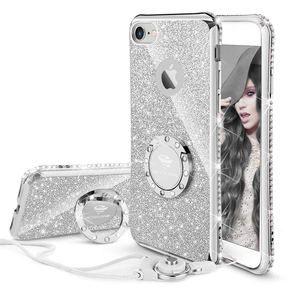 OCYCLONE Funda para iPhone 6 Plus,Ultra Slim Soft TPU Purpurina Fundas Movil con Diamantes Glitter Anillo Protectora Apple iPhone 6 Plus,iPhone 6S Plus para Mujer: Amazon.es: Electrónica